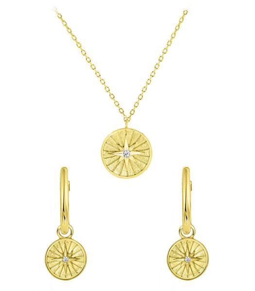 Disque/étoile en argent plaqué or avec zircone