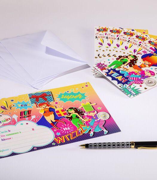 Set van 6 dubbele kaarten uitnodiging verjaardag