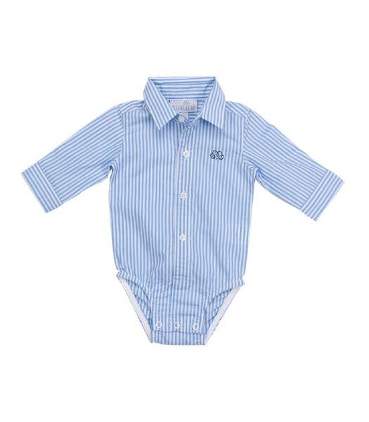 Chemise à manches longues- Rayures bleu clair