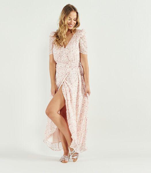 Lange jurk met bloemenprint V-hals THEREZA