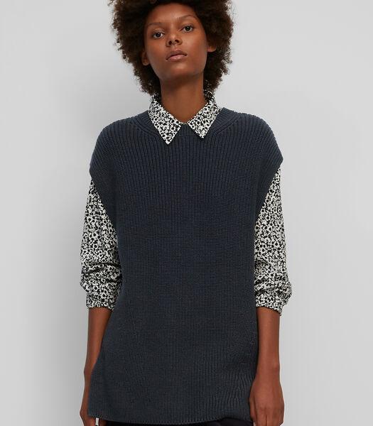 Mouwloze trui van garen van organic cotton