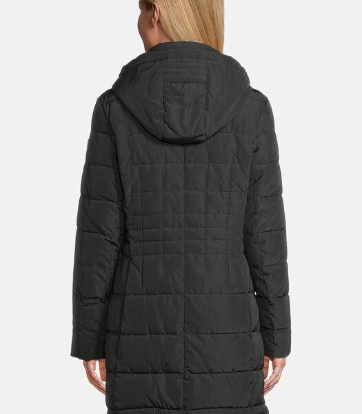 Doorstikte mantel met kraag van imitatiebont