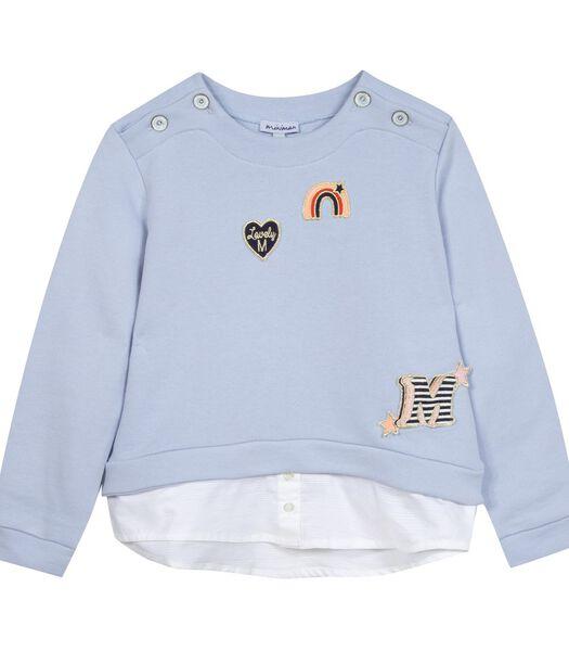 Effen sweatshirt met geborduurde badges
