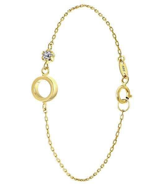 Bracelet en or 14 carats, rond et zirconia