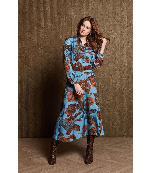Lange jurk in een prachtige felblauwe print