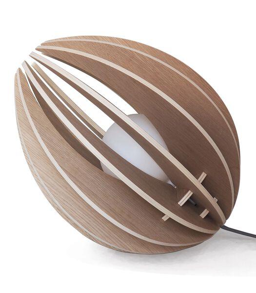 Houten design tafellamp met gloeilamp, FEVE