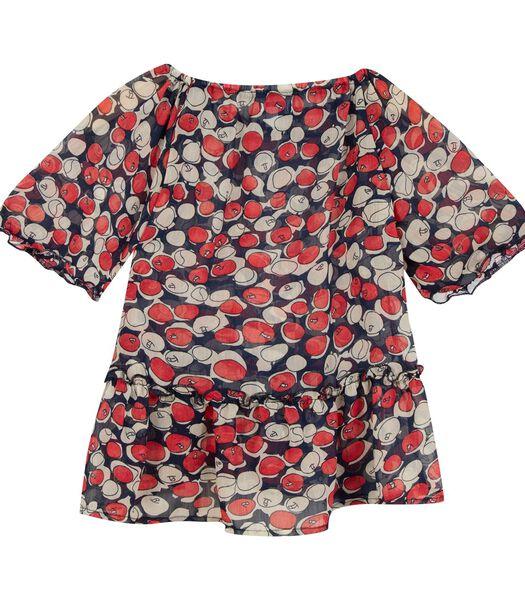 Appelpatroon blouse met korte mouwen