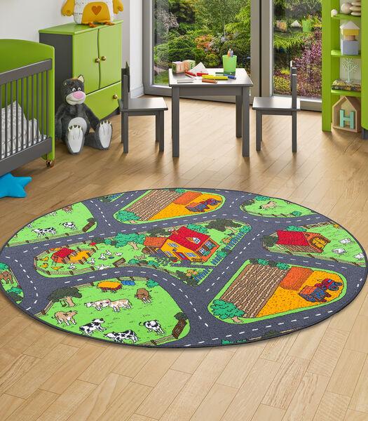 Tapis de jeu pour enfant ferme motifs village vert rond