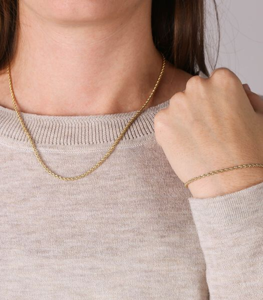 Collier et bracelet avec cordon serti de 9 carats