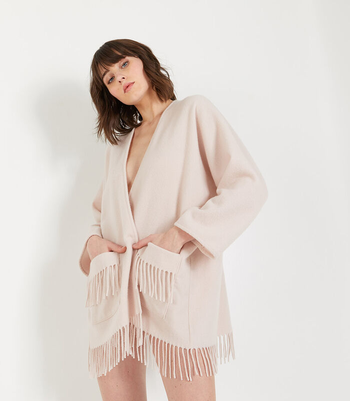 Homewear korte poncho wol image number 1