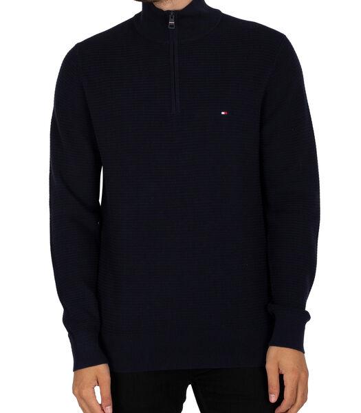 Sweater met ritssluiting en structuur