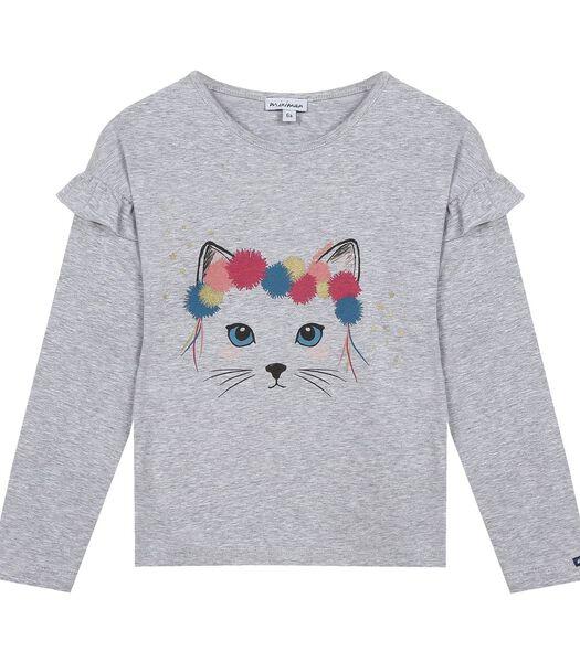 t-shirt met lange mouwen- kittenprint