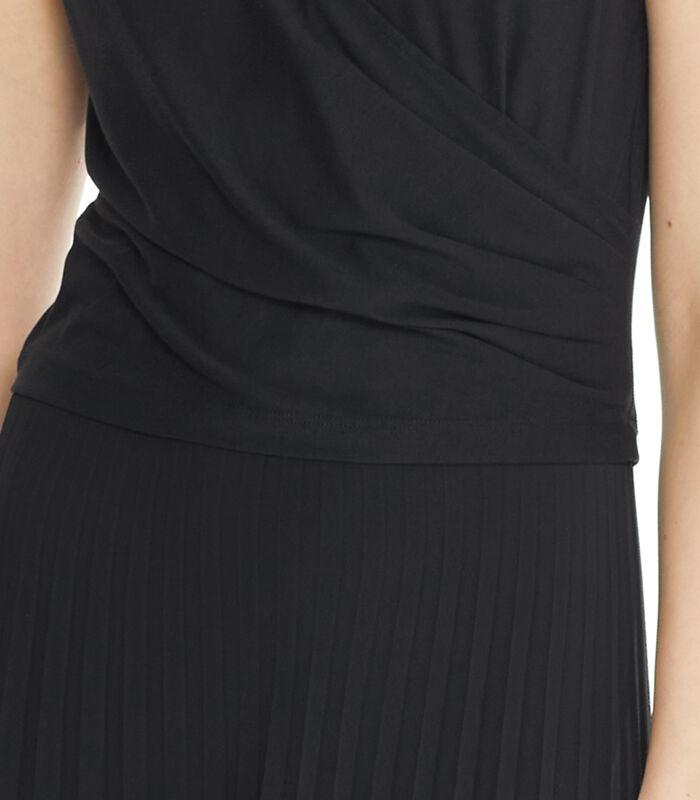 Zwarte lange jurk CONCILIANT in geplooide voile image number 4
