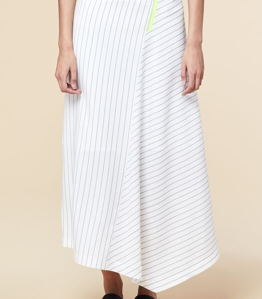 Witte asymmetrische lange rok met strepen BRAVAL
