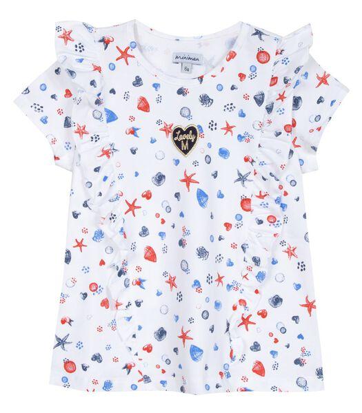 T-shirt met korte mouwen, ruches en geborduurde badge