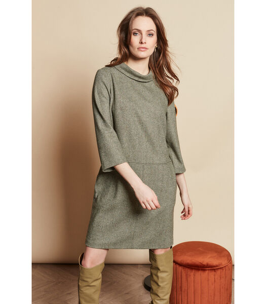 Lichtgroene tuniek jurk in visgraat motief