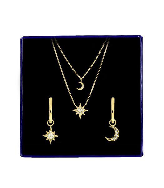 Zilveren set maan/ster met zirkonia