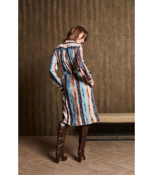 Vlotte jurk met gestreept multicolor patroon