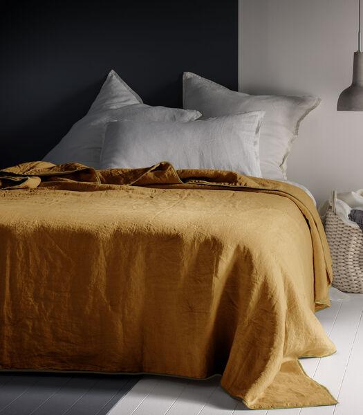 Couvre-lit en lin lavé, bourdon contrasté, AUTOUR DU LIN