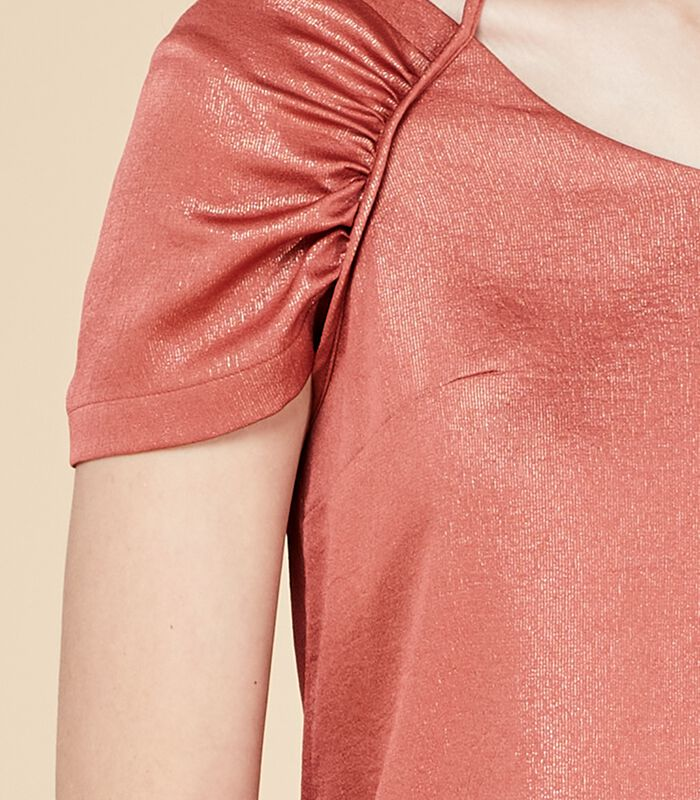 Korte iriserende jurk DEROMY bloedappelsien image number 3