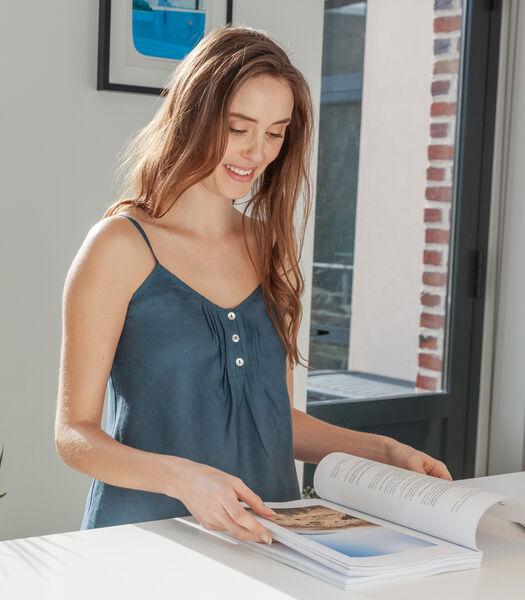 Homewear top in zuiver Frans linnen, CLÉMENCE