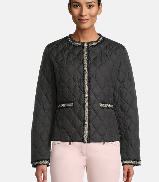 Gewatteerde jas met ronde hals