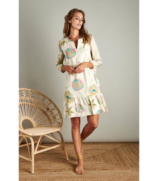 Losvallend jurkje met zachte pasteltinten