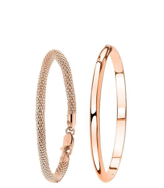 Ensemble argenté plaqué rose avec deux bracelets