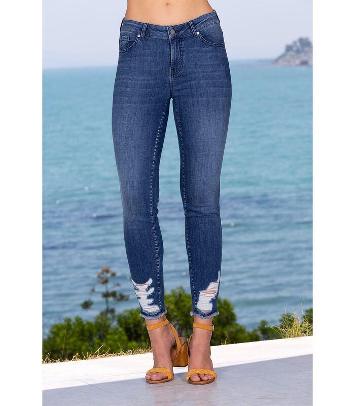 Jeans slim denim brut troué et franges CRUSH image number 1