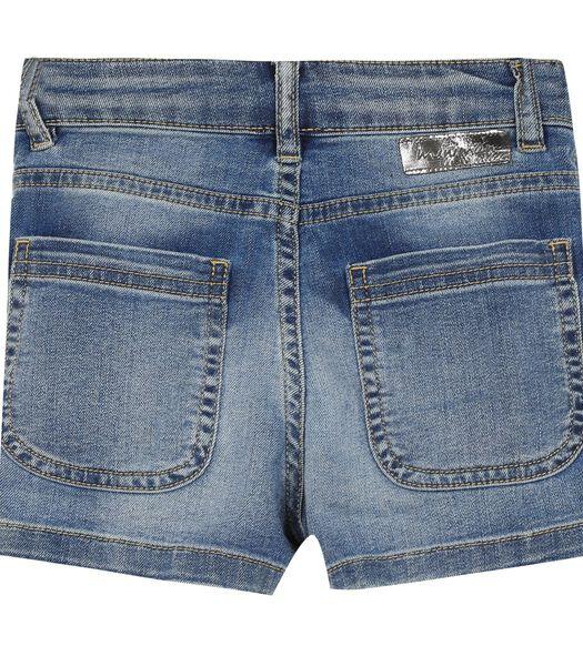 5 pocket verkleurde denim short