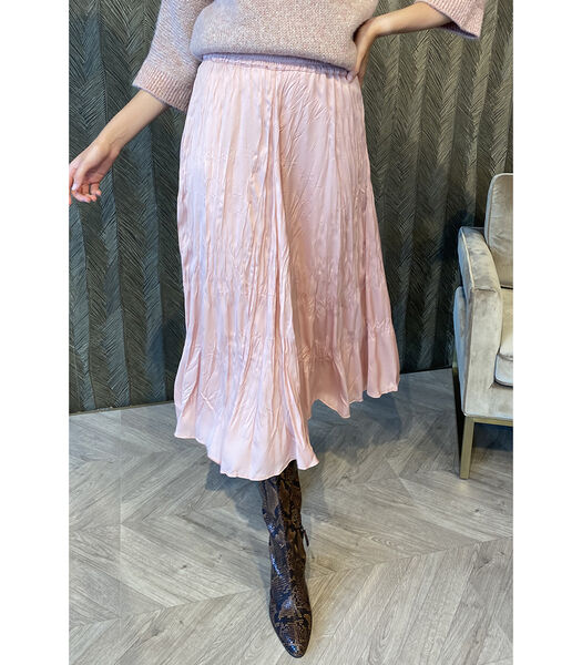 Soepelvallende roze rok met lichte glans