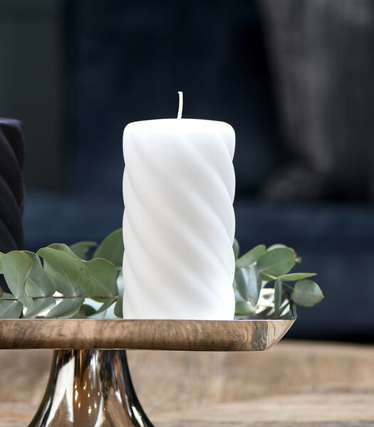 Bougie pilier torsadée blanc cassé 8x15