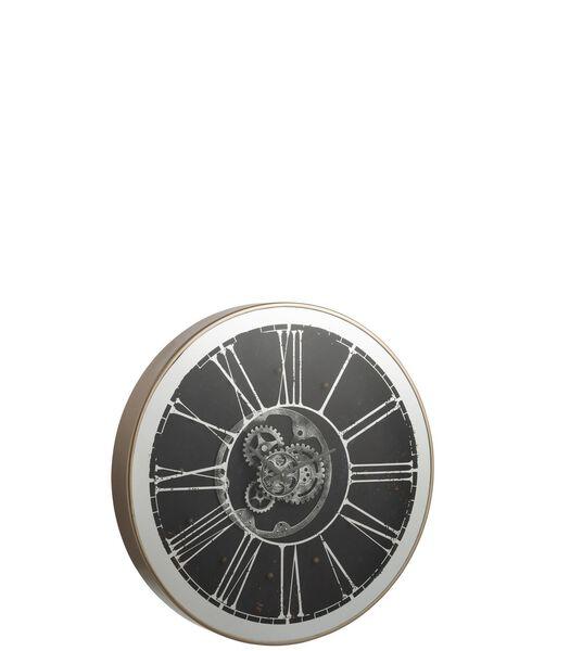 Horloge Ronde   Led Mecanisme Miroir Argent/Champagne
