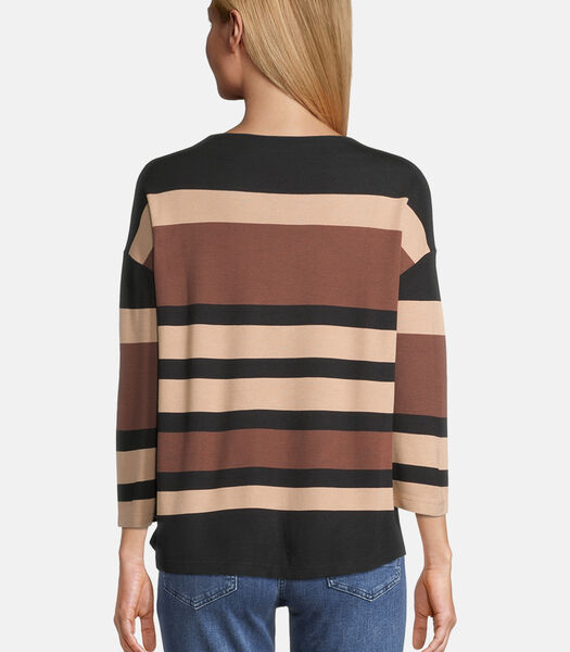 Casual sweatshirt met strepen