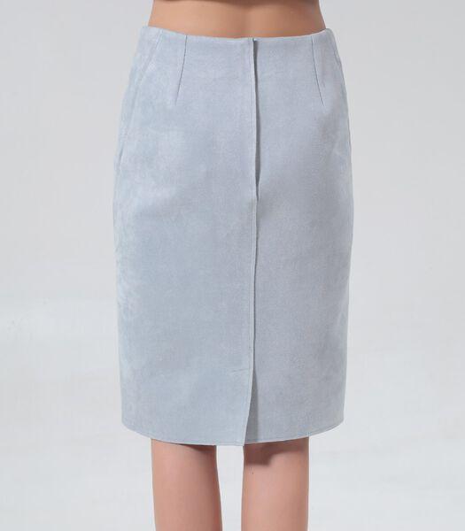 Rechte rok van suède met opgestikte uitsnijdingen
