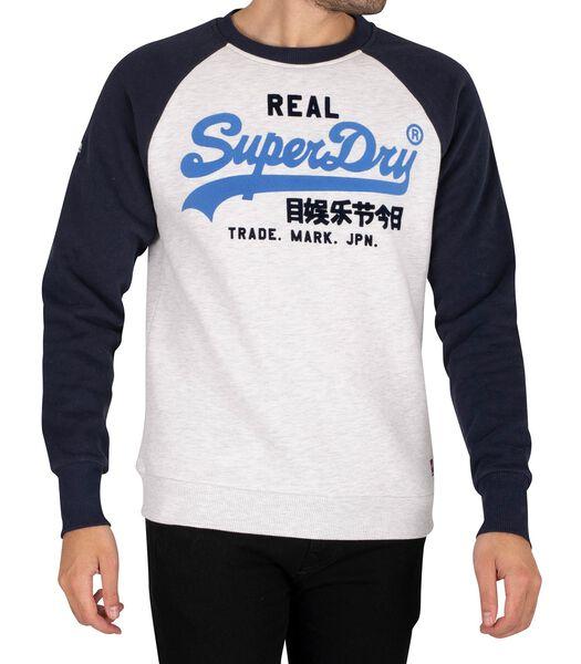 Sweatshirt raglan duo à logo vintage