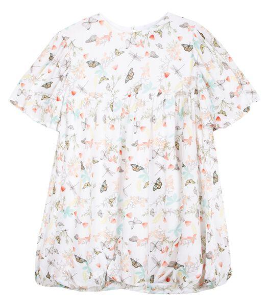 Bedrukte jurk met volle mouwen