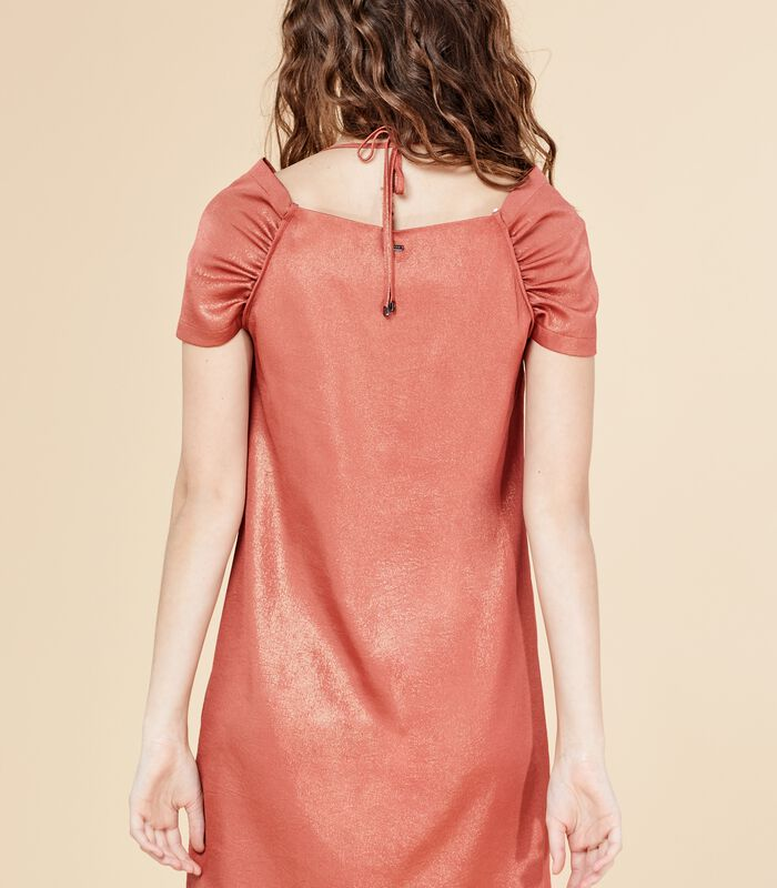 Korte iriserende jurk DEROMY bloedappelsien image number 2