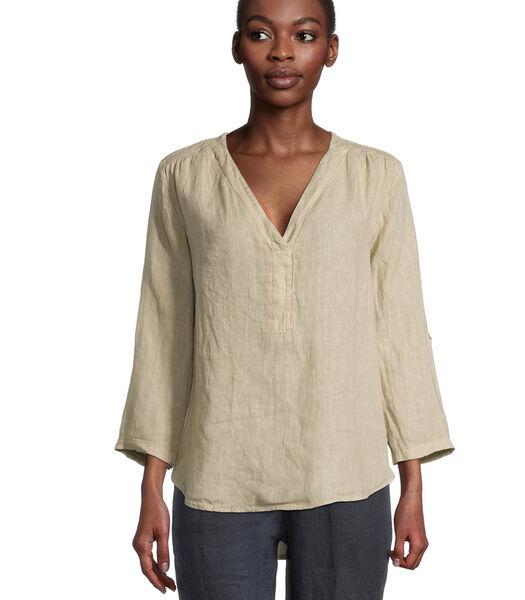 Linnen blouse met 3/4-mouw