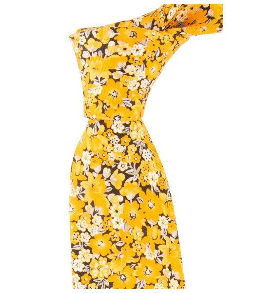 Cravate à fleurs en soie et coton