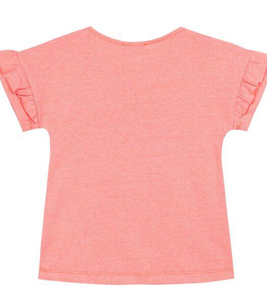 T-shirt met ruches en print op de voorkant