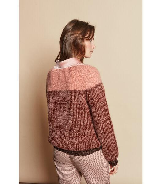Tweekleurige trui in roze/bruin