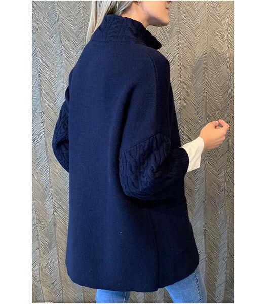 Gilet bleu mi-long avec poignets côtelés