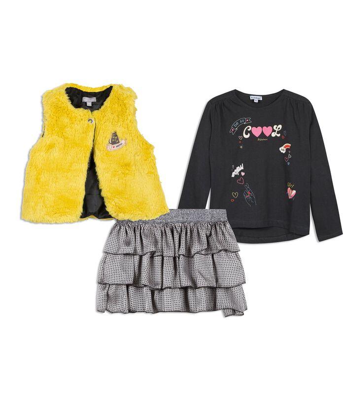 Set met 3 stuks: t-shirt, vest en rok met ruches image number 0