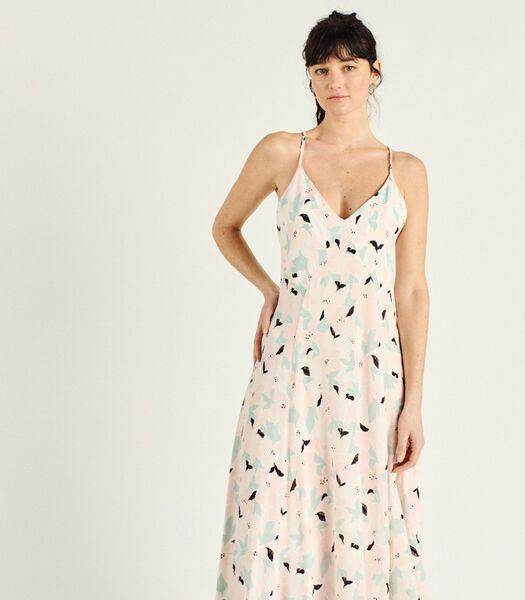 Lange jurk met bloemenprint en bandjes SANTANA