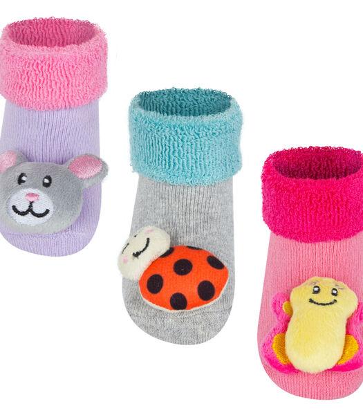 3 paar anti-slip sokken - dieren -