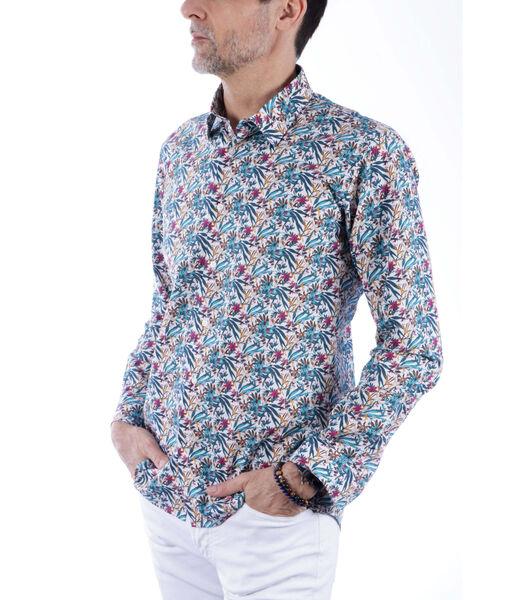 Overhemd katoen franse kraag bloemen