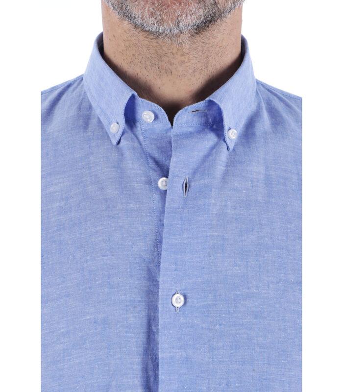 Overhemd linnen amerikaanse kraag effen patroon image number 3