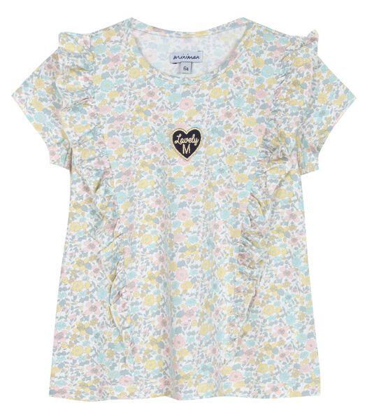 T-shirt manches courtes avec volants et badge brodé