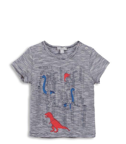 Gestreept T-shirt met dinosaurusprint